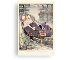 King Arthur's Knights - The Tale Retold for Boys and Girls by Sir Thomas Malory, Illustrated by Walter Crane 283 - The Death Journey of the Lily Maid Astolat Canvas Print