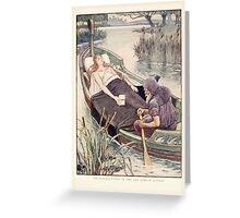King Arthur's Knights - The Tale Retold for Boys and Girls by Sir Thomas Malory, Illustrated by Walter Crane 283 - The Death Journey of the Lily Maid Astolat Greeting Card