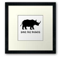 Save the Rhinos Framed Print
