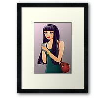 Cute Cell Phone Girl Framed Print