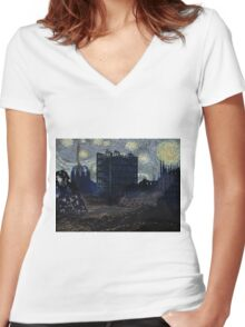 FUTURE STARRY NIGHT? Women's Fitted V-Neck T-Shirt