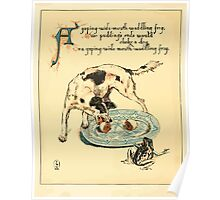 The Buckle My Shoe Picture Book by Walter Crane 1910 40 - A Gaping Wide Mouth Waddling frog Poster