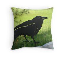 Metalwork Crow Throw Pillow