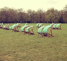 Deck chairs in London by Jodie Johnson