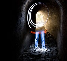 self portrait, catacombs at Lithgow blast furnace ruins NSW by ozzzywoman