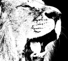 A Roaring Lion in Black and White Sticker