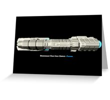 8 Bit Pixel Spaceship Dreadnought Class Space Carrier - Plusllian Greeting Card