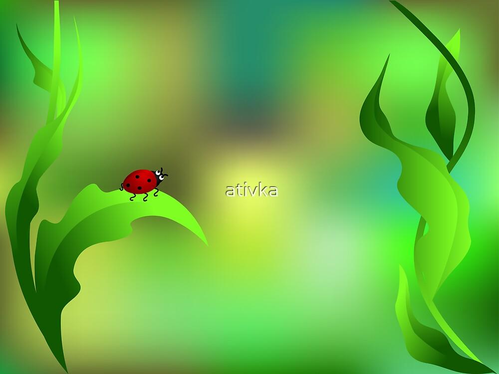 Ladybug sitting on a green leaf by ativka