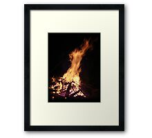 The horse head and the calf head in the  Fire see it? Framed Print