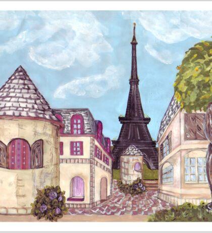 Paris Eiffel Tower inspired impressionist landscape by Kristie Hubler Sticker