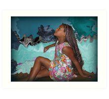 Calico Girl In Blue Art Print
