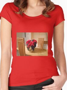 Poinsettia Welcome Women's Fitted Scoop T-Shirt