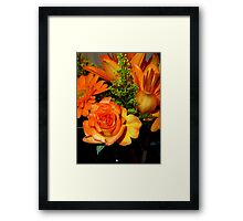 ENCHANTED ORANGE FLOWERS - ROSE-LILIES-GERBERA - Photography Framed Print