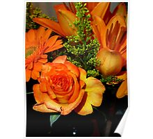 ENCHANTED ORANGE FLOWERS - ROSE-LILIES-GERBERA - Photography Poster