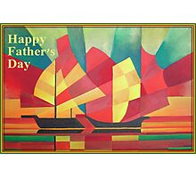 Happy Father's Day Cubist Abstract of Junk Sails and Ocean Skies Photographic Print
