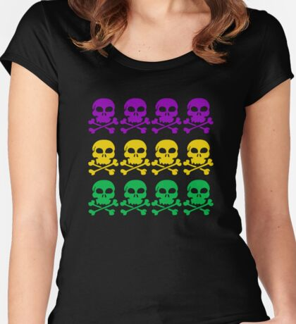Skulls in Mardi Gras Colors Women's Fitted Scoop T-Shirt