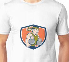 Strongman Lifting Kettlebell Crest Cartoon Unisex T-Shirt