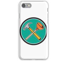 Crossed Hammer Plunger Circle Cartoon iPhone Case/Skin