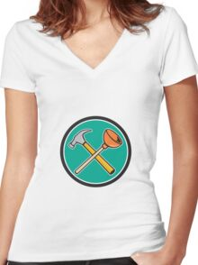 Crossed Hammer Plunger Circle Cartoon Women's Fitted V-Neck T-Shirt