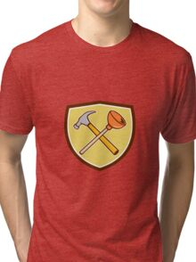 Crossed Hammer Plunger Crest Cartoon  Tri-blend T-Shirt