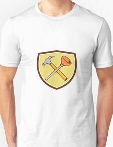 Crossed Hammer Plunger Crest Cartoon  Unisex T-Shirt