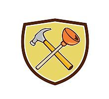 Crossed Hammer Plunger Crest Cartoon  Photographic Print