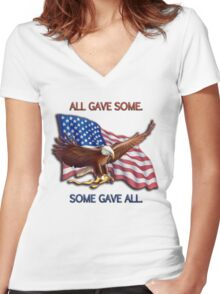 ALL GAVE SOME. SOME GAVE ALL. PATRIOTIC MIA/POW Women's Fitted V-Neck T-Shirt