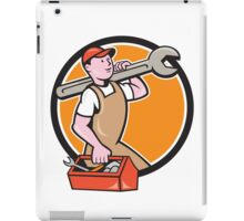 Mechanic Carrying Spanner Toolbox Circle Cartoon iPad Case/Skin