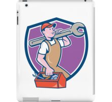 Mechanic Carrying Spanner Toolbox Crest Cartoon iPad Case/Skin