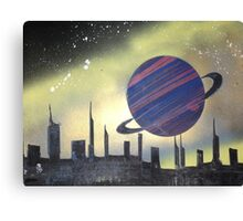 Planet over city Canvas Print