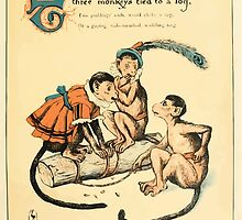 The Buckle My Shoe Picture Book by Walter Crane 1910 41 - Three Monkeys Tied to a Log by wetdryvac