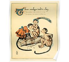 The Buckle My Shoe Picture Book by Walter Crane 1910 41 - Three Monkeys Tied to a Log Poster