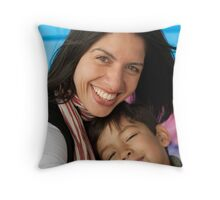 Mum and Son Throw Pillow