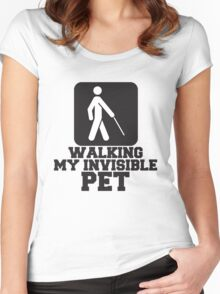 Walking My Invisible Pet, Design Quote Women's Fitted Scoop T-Shirt