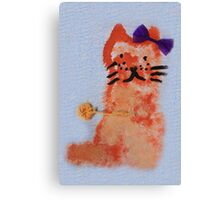 cat with bow drawing Canvas Print