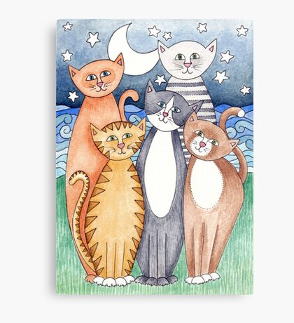 Happy Cats and Kittens Canvas Print