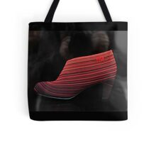 Woman's Shoe on display in a shop window Tote Bag