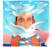 Boy with seagulls Poster