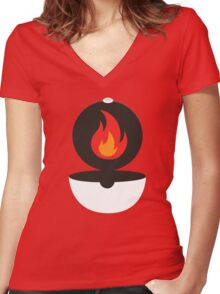 Pokeball - Fire Women's Fitted V-Neck T-Shirt