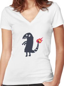Drunk Charmander tattoo Women's Fitted V-Neck T-Shirt