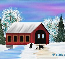 Winter Covered Bridge - Black Labradors by BlackDogArtJudy