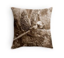 Death of a Dragonfly - in sepia Throw Pillow