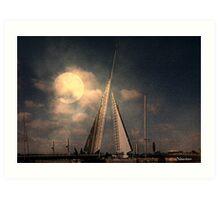 Moonlit Sails Art Print