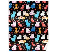 pattern of different cats Poster