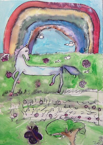 Unicorn and Rainbow by Zoe Thomas age 7 by Julia  Thomas