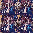 pattern beautiful magical trees by Tanor
