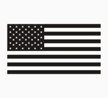 American Flag, STICKER, Stars & Stripes, USA, America, Black on white by TOM HILL - Designer