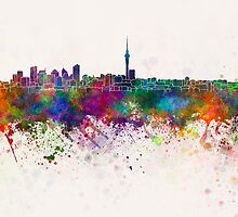 Auckland skyline in watercolor background by paulrommer