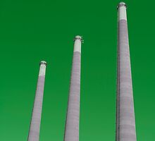 Energy - Three Smoke Stacks on a Green Background by Buckwhite