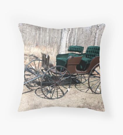 """""""Are You Ready Yet?* Four  Passenger  Pleasure  Buggy  With Velvet Seats Throw Pillow"""